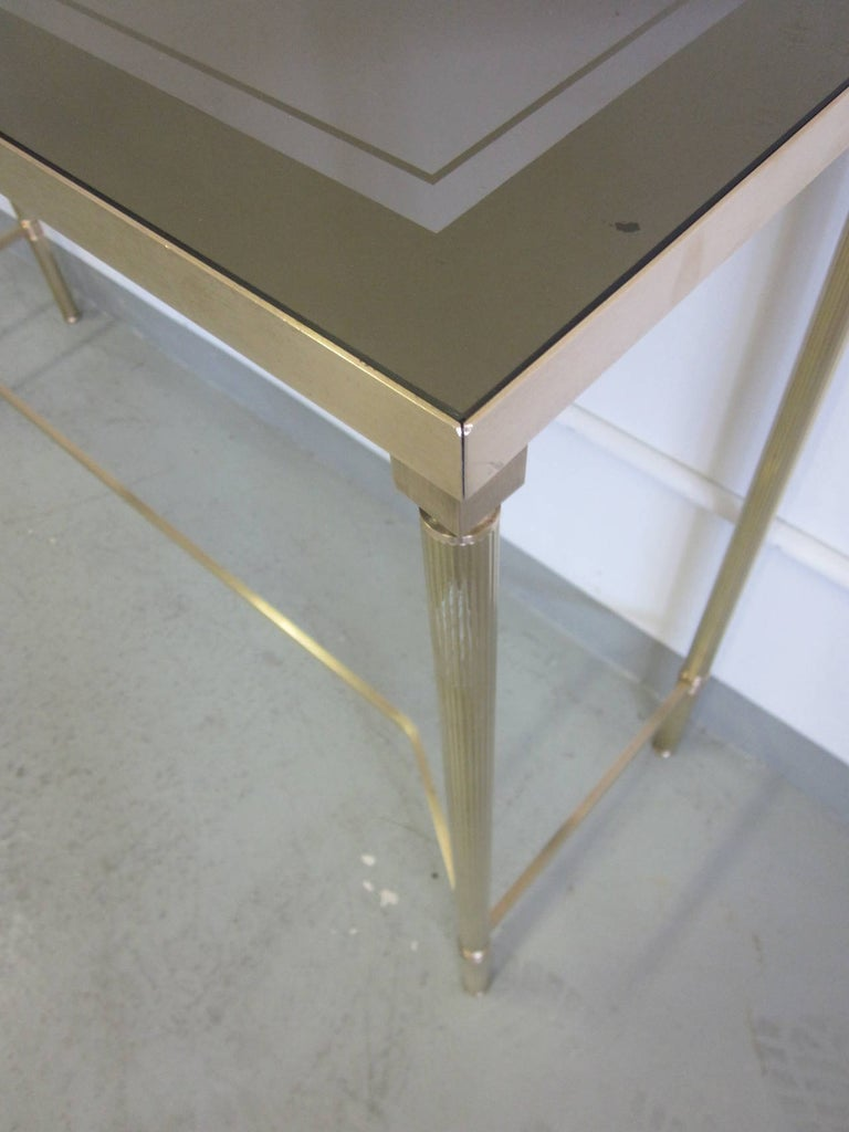 French Midcentury Brass and Reverse Painted Glass Console / Sofa Table, Baguès For Sale 4