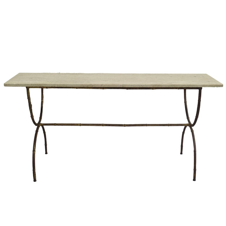 French Modern Neoclassical Gilt Iron Faux Bamboo Sofa Table/Console, Baguès For Sale