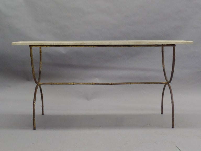Mid-Century Modern French Modern Neoclassical Gilt Iron Faux Bamboo Sofa Table/Console, Baguès For Sale