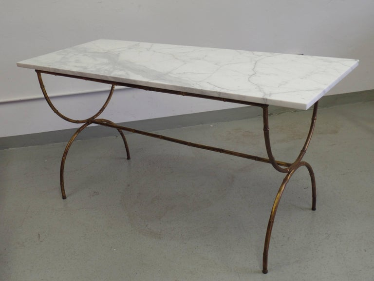 French Modern Neoclassical Gilt Iron Faux Bamboo Sofa Table/Console, Baguès In Good Condition For Sale In New York, NY