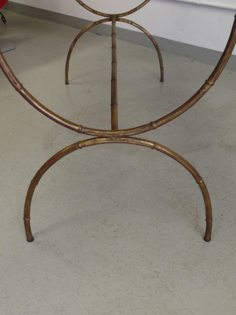 Mid-20th Century French Modern Neoclassical Gilt Iron Faux Bamboo Sofa Table/Console, Baguès For Sale