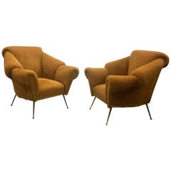 Pair of Italian Futurist Lounge Chairs / Armchairs Attributed to Giacomo Balla