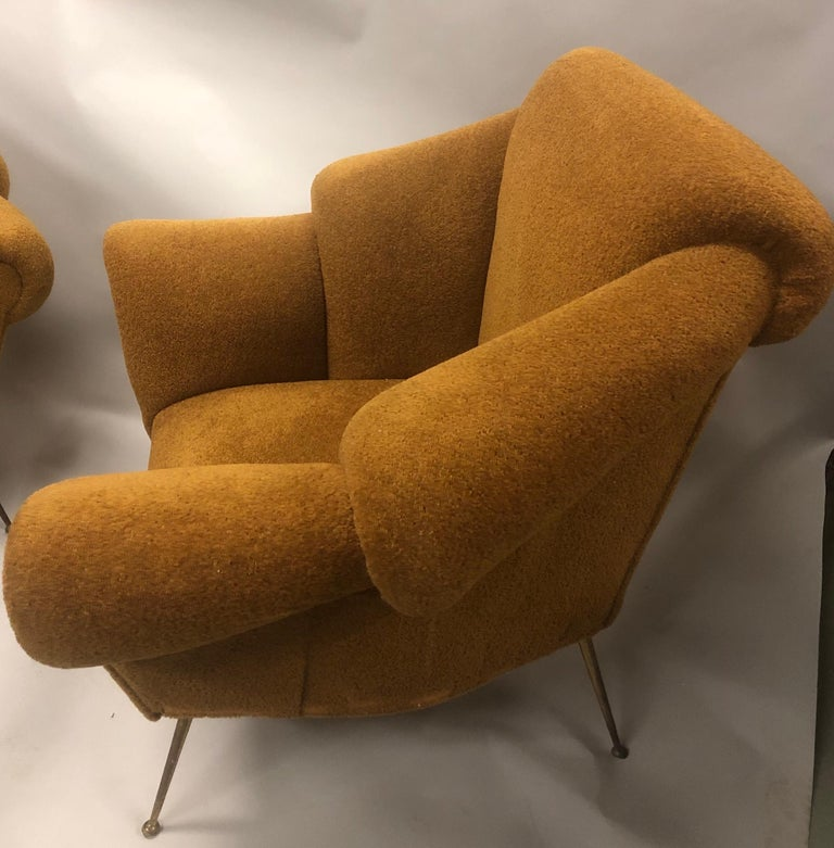 Pair of Italian Futurist Lounge Chairs / Armchairs Attributed to Giacomo Balla For Sale 1