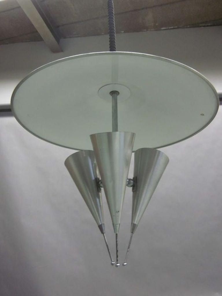 Mid-Century Modern Italian Midcentury Adjustable Triple Reflector Pendant Attributed to Stilnovo For Sale