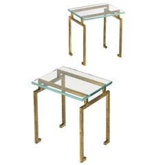 Pair of French Midcentury Style Gilt Iron Side Tables, Maison Ramsay