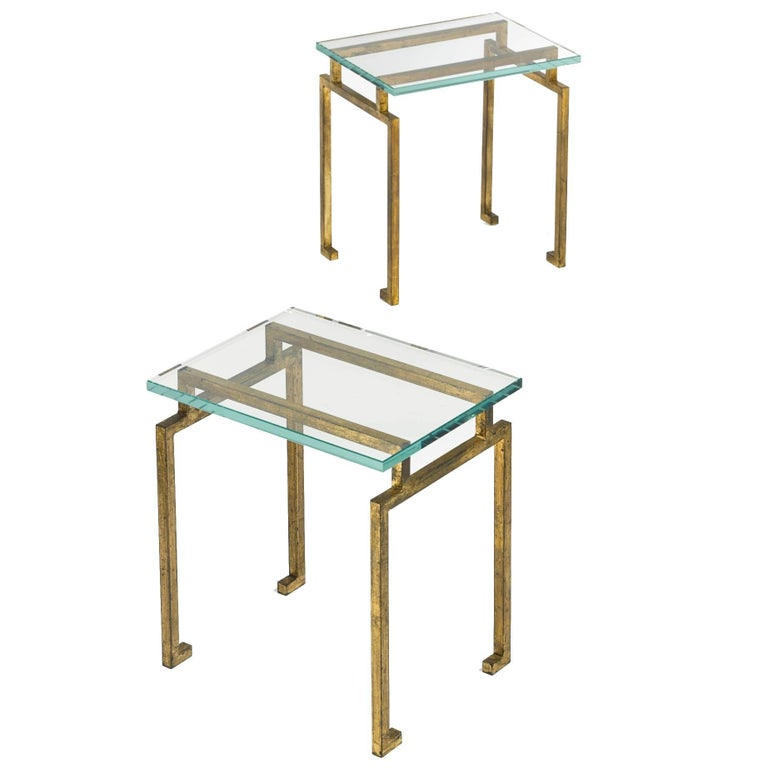 Pair of French Midcentury Style Gilt Iron Side Tables, Maison Ramsay For Sale