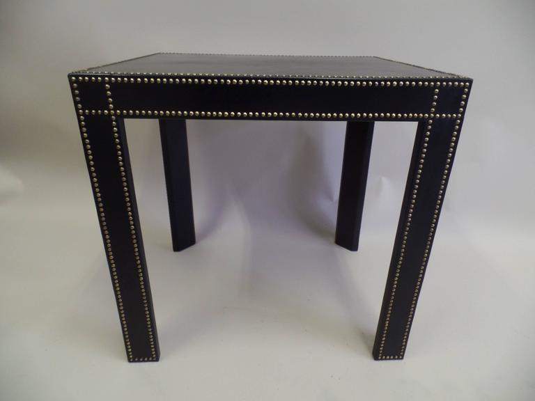 French Mid-Century Modern Studded Black Leather End Tables Pierre Lottier, Pair In Good Condition For Sale In New York, NY