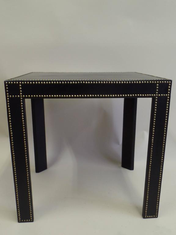 Perfect Pair French Mid Century Modern Studded Black Leather End Tables Pierre  Lottier 2
