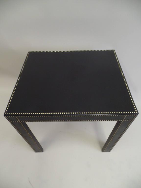 Brass French Mid-Century Modern Studded Black Leather End Tables Pierre Lottier, Pair For Sale