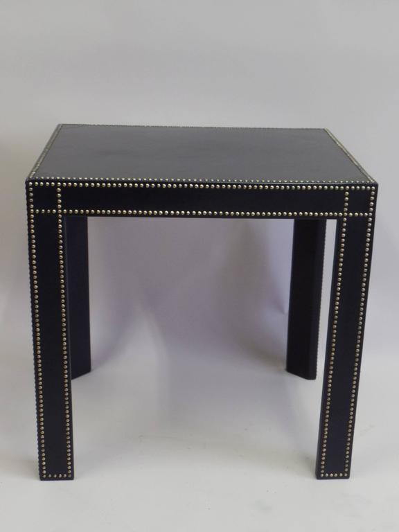 20th Century French Mid-Century Modern Studded Black Leather End Tables Pierre Lottier, Pair For Sale