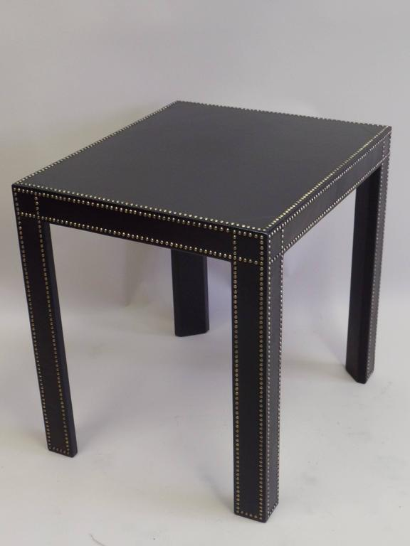 French Mid-Century Modern Studded Black Leather End Tables Pierre Lottier, Pair For Sale 1