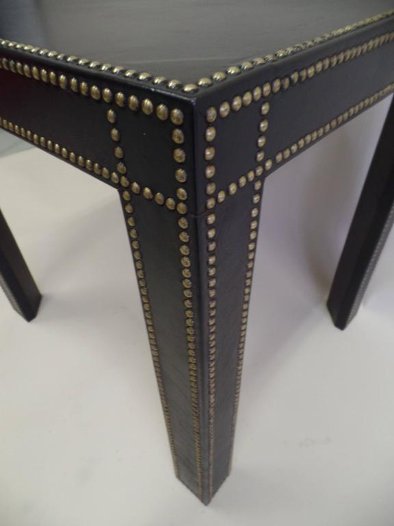 French Mid-Century Modern Studded Black Leather End Tables Pierre Lottier, Pair For Sale 2