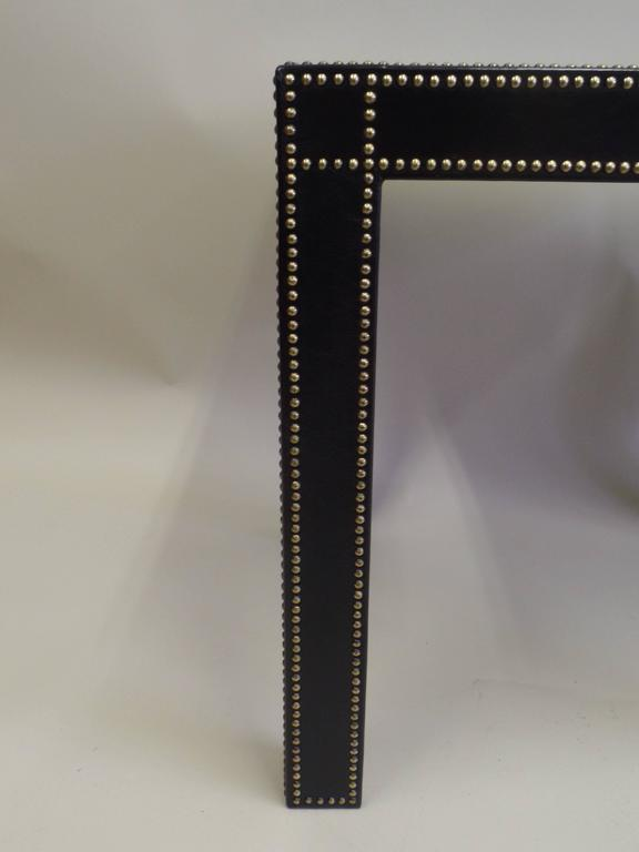 French Mid-Century Modern Studded Black Leather End Tables Pierre Lottier, Pair For Sale 3