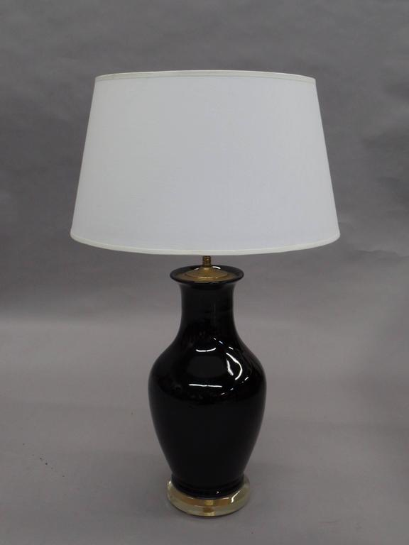 Pair of French Mid-Century Modern Black Opaline Glass and Lucite Table Lamps In Good Condition For Sale In New York, NY