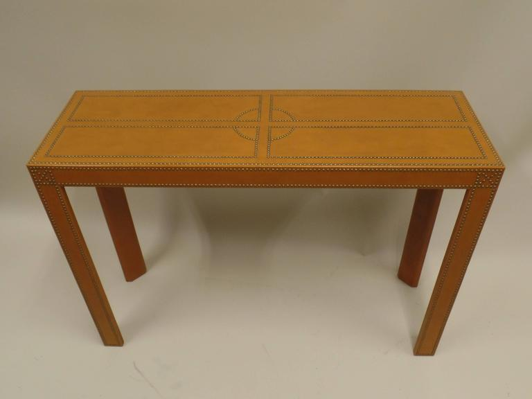 Studded French Leather Console or Sofa Table by Pierre Lottier 3