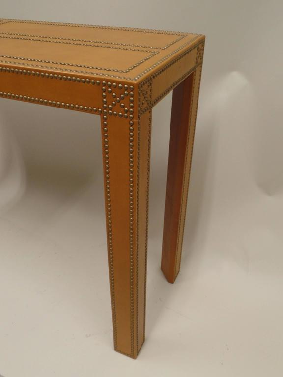 Studded French Leather Console or Sofa Table by Pierre Lottier 7