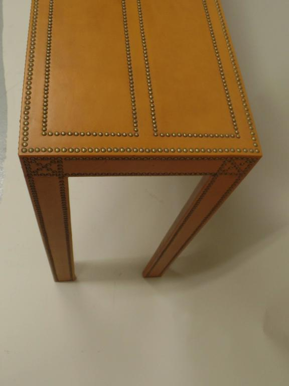 Studded French Leather Console or Sofa Table by Pierre Lottier 6