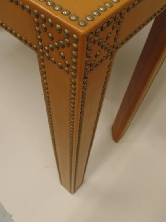 Studded French Leather Console or Sofa Table by Pierre Lottier 8