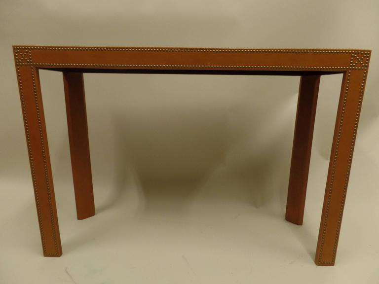 Studded French Leather Console or Sofa Table by Pierre Lottier 5