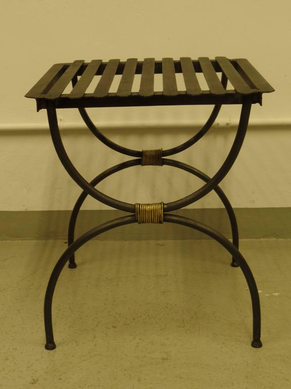 Three Pairs of French 1940s Modern Neoclassical Iron End Tables or Luggage Racks 2