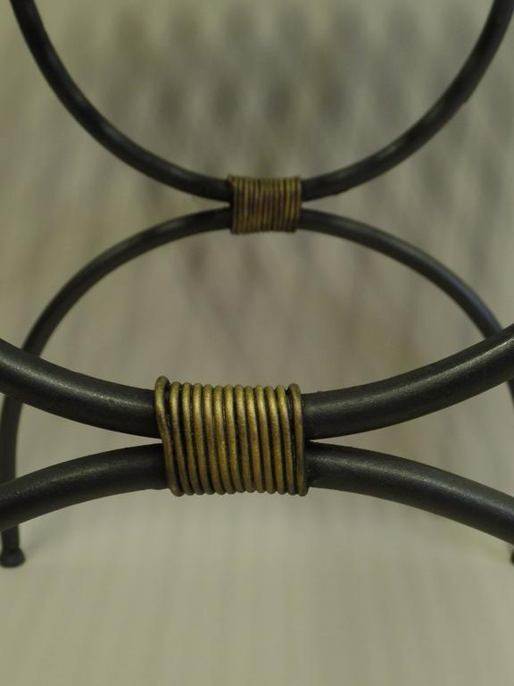 Mid-20th Century Pair of French Mid-Century Modern Neoclassical Iron End Tables or Luggage Racks For Sale