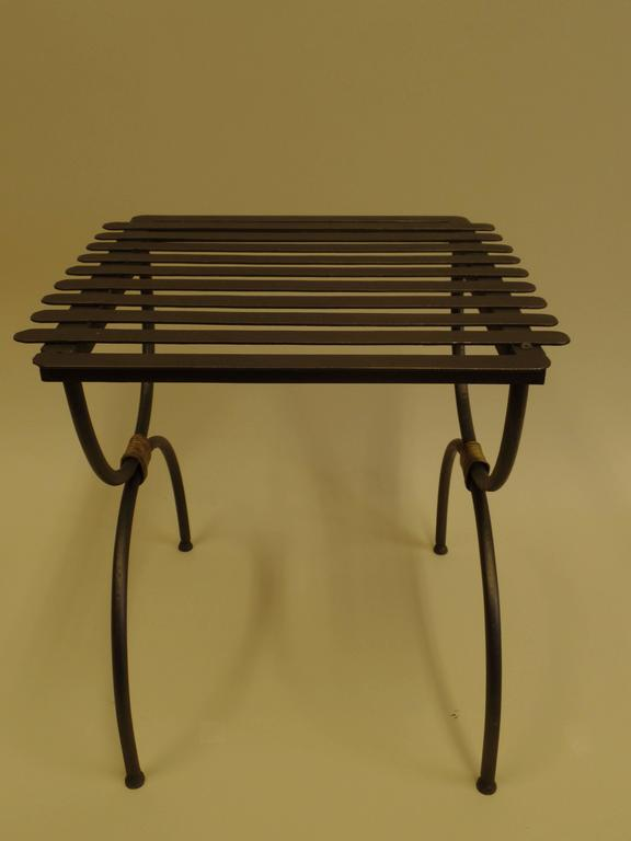 Pair of French Mid-Century Modern Neoclassical Iron End Tables or Luggage Racks In Good Condition For Sale In New York, NY