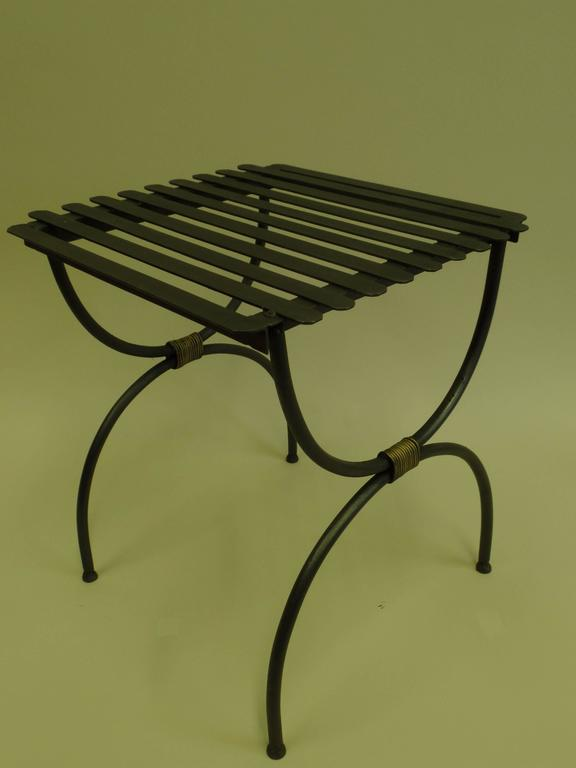 Three Pairs of French 1940s Modern Neoclassical Iron End Tables or Luggage Racks 4