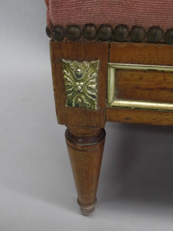 Brass Pair of French Modern Neoclassical Stools / Benches Attributed to Jansen For Sale