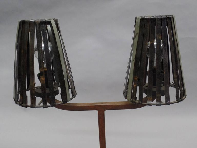 Mid-20th Century Unique Pair of French Mid-Century Industrial Table Lamps in Style Jean Prouve For Sale