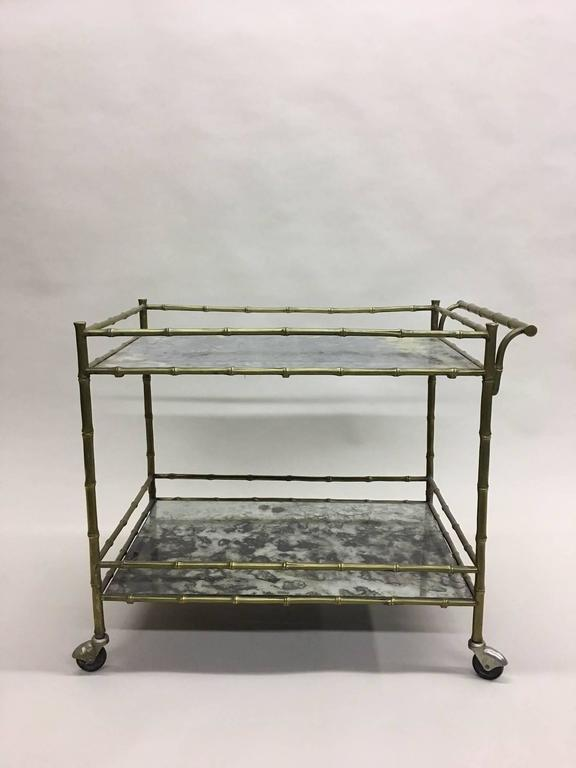Elegant French Brass Faux Bamboo Bar Cart by Maison Bagues 4