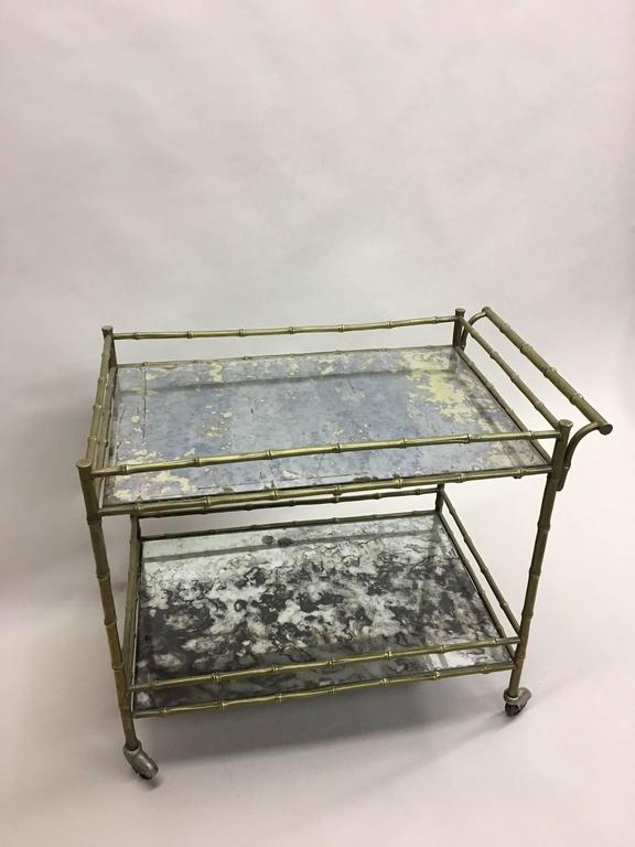 Elegant French Brass Faux Bamboo Bar Cart by Maison Bagues 3