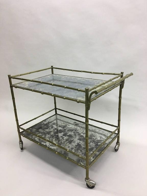 Elegant French Brass Faux Bamboo Bar Cart by Maison Bagues 2