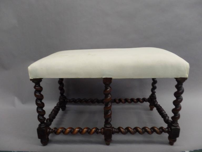 French Mid-Century Modern Barley Twist Bench in the Style of Louis XIII, 1930 In Good Condition For Sale In New York, NY