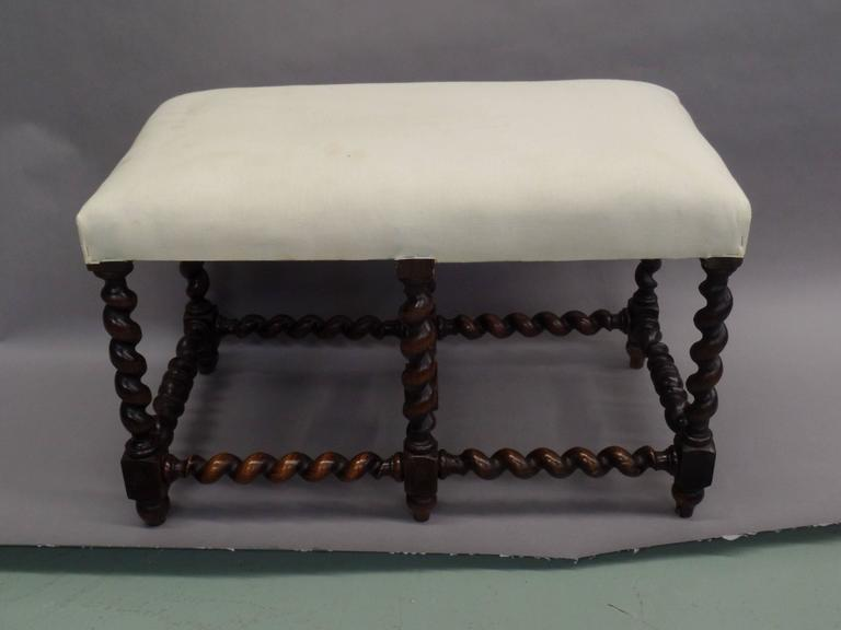 Mid-20th Century French Mid-Century Modern Barley Twist Bench in the Style of Louis XIII, 1930 For Sale