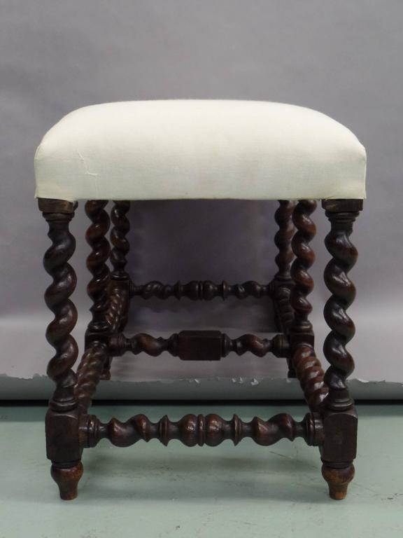 Walnut French Mid-Century Modern Barley Twist Bench in the Style of Louis XIII, 1930 For Sale