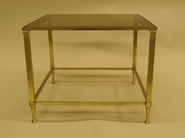 Pair of French Modern Neoclassical Brass Side Tables Attributed Maison Jansen 4