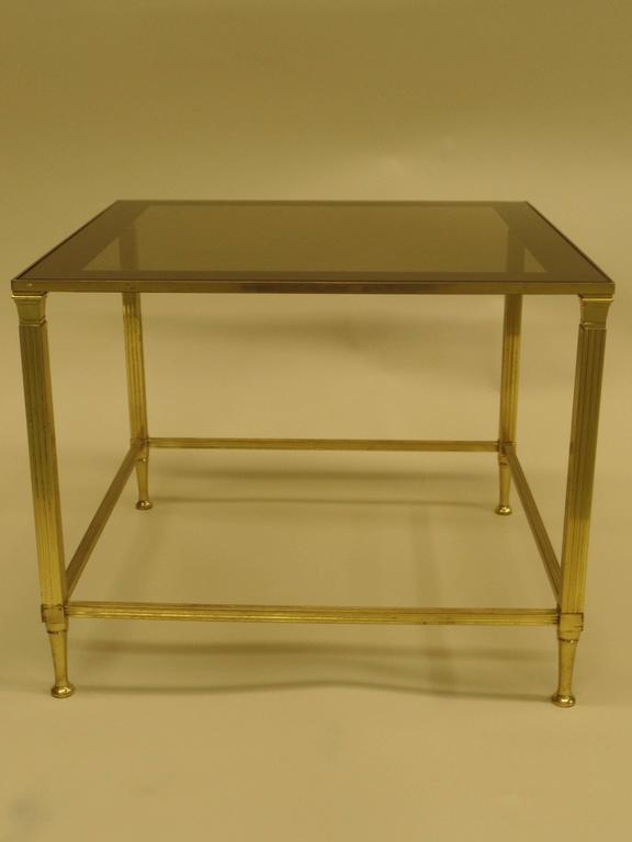 Pair of French Modern Neoclassical Brass Side Tables Attributed Maison Jansen 3