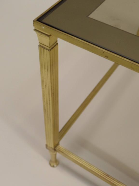 Mid-20th Century Pair French Mid-Century Modern Neoclassical Brass Side Table Attr. Maison Jansen For Sale