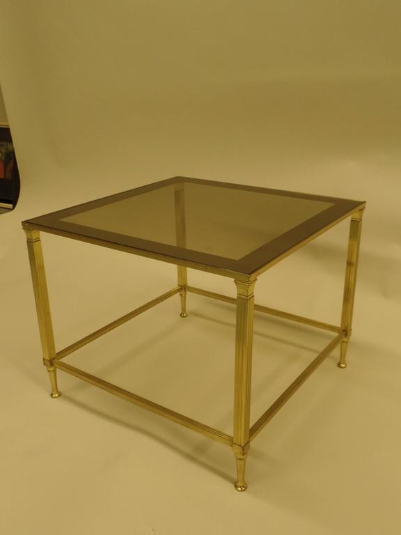 Pair of French Modern Neoclassical Brass Side Tables Attributed Maison Jansen 6
