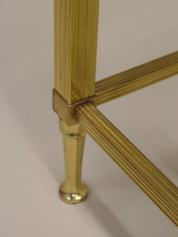 Pair French Mid-Century Modern Neoclassical Brass Side Table Attr. Maison Jansen For Sale 1