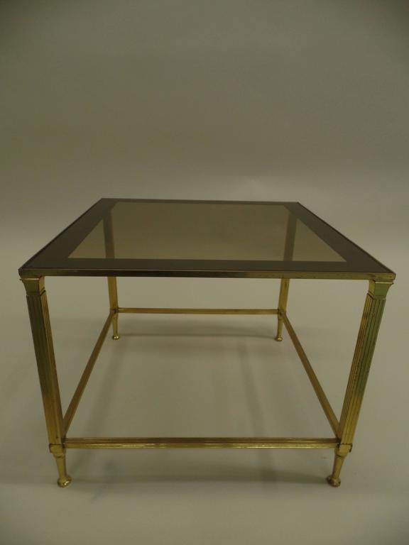Pair French Mid-Century Modern Neoclassical Brass Side Table Attr. Maison Jansen In Good Condition For Sale In New York, NY