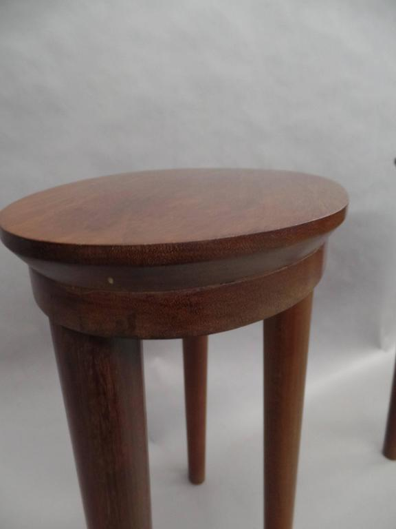 Pair of French Colonial Solid Wood Side Tables / Consoles / Nightstands, 1930 For Sale 3