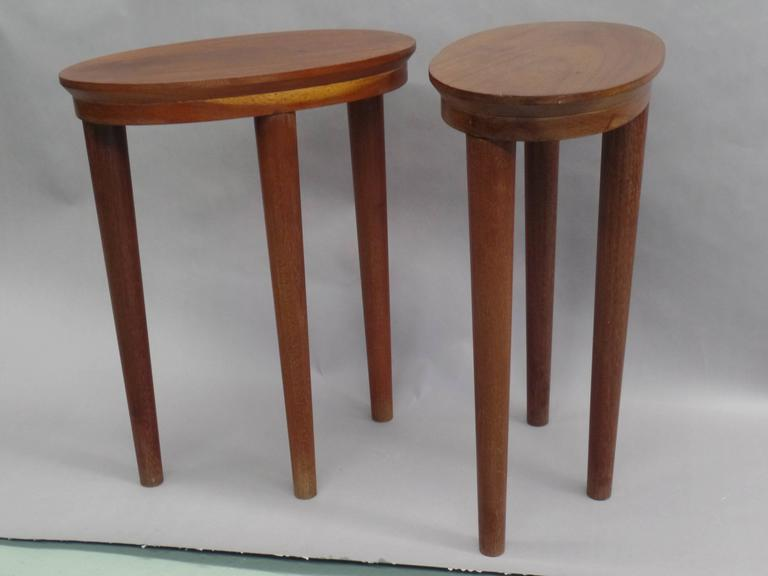 Mid-Century Modern Pair of French Colonial Solid Wood Side Tables / Consoles / Nightstands, 1930 For Sale