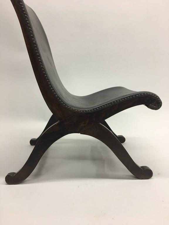 Leather 3 Mid-Century Modern Neoclassical Slipper / Lounge Chairs, Pierre Lottier, 1940  For Sale