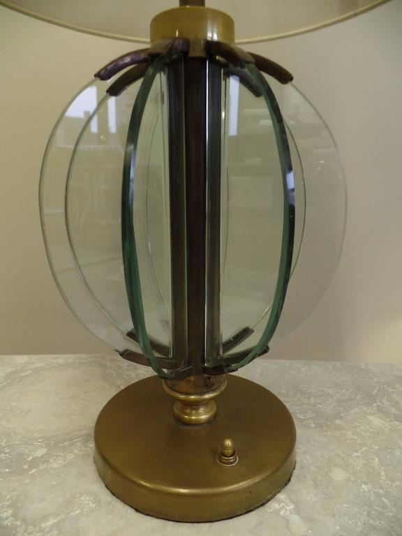 Pair of Italian Mid-Century Modern Glass 'Astrolabe' Table Lamps by Fontana Arte For Sale 1