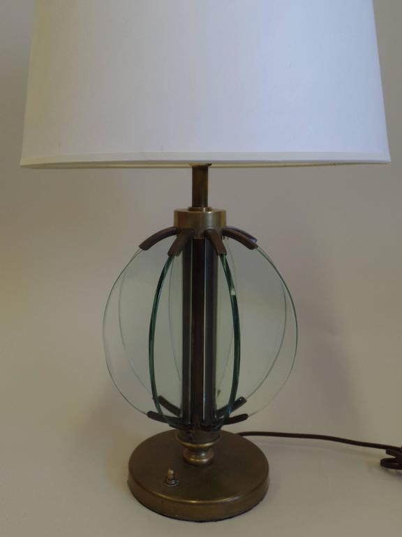 Brass Pair of Italian Mid-Century Modern Glass 'Astrolabe' Table Lamps by Fontana Arte For Sale