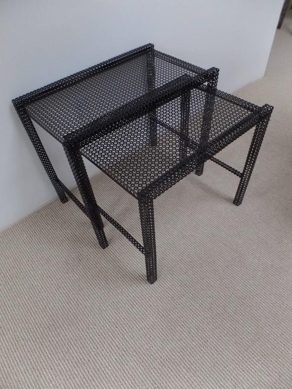 Pair French Mid-Century Modern Nesting / Coffee Tables by Mathieu Matégot For Sale 1
