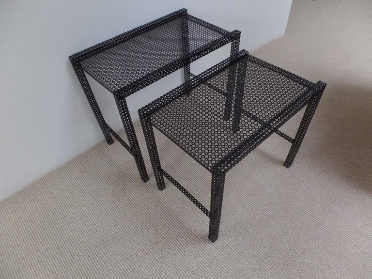 Pair French Mid-Century Modern Nesting / Coffee Tables by Mathieu Matégot For Sale 2