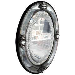 Italian, 1930s Engraved Sunburst Venetian Mirror