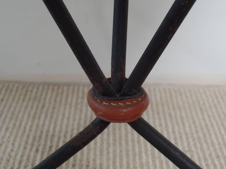 Pair of French Mid-Century Iron and Leather Banded Side Tables, Jacques Adnet For Sale 1